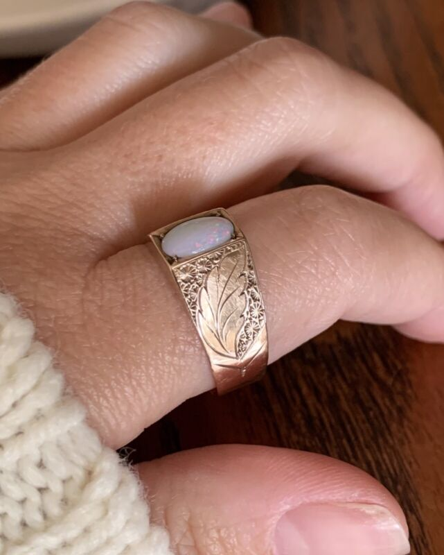 Antique OPAL 8k Rose GOLD Ring Gypsy Etched Feather Acanthus Leaf Wide Band Gift