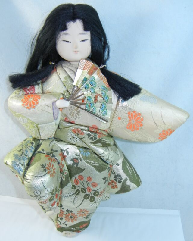 "Ichimatsu Japanese Doll 11"" Girl w Glass Case Silk Embroidered Kimono Posed"