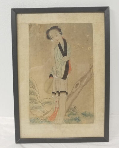 Antique Chinese Scroll Watercolor Painting Beauty On Paper Insect Damage