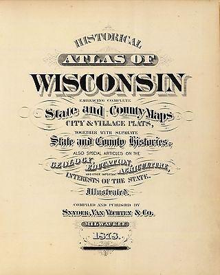 1878 WISCONSIN STATE ATLAS maps old GENEALOGY  DVD S3