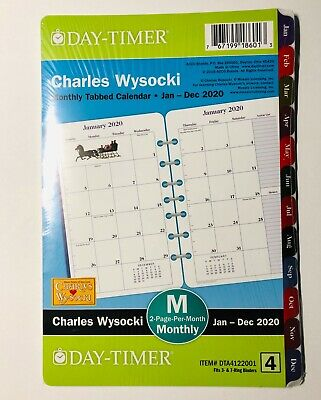 Day-timer Charles Wysocki 2020 Tabbed Monthly Planner 8.5x5.5 Refill Size 4