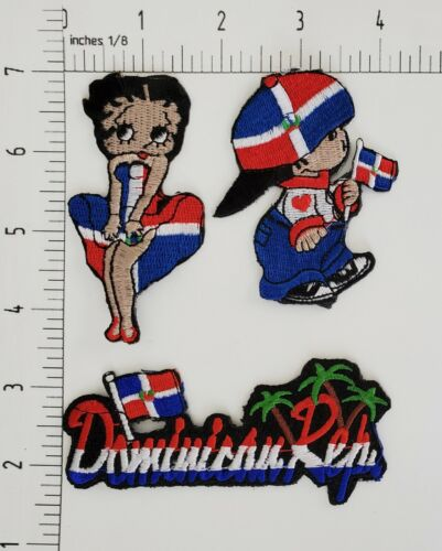 DOMINICAN REPUBLIC FLAG IRON ON or SEW ON PATCHES of 3 PIECE LOT