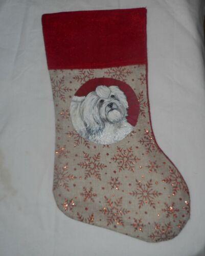 Havanese Dog Hand Painted Christmas Gift Stocking Holiday Decoration