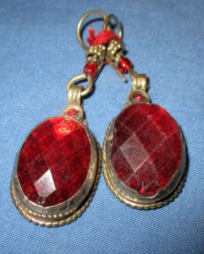 "Earrings Teardrop Fashion Blue or Red Afghan Kuchi Tribal Alpaca Silver 1 1/2"""