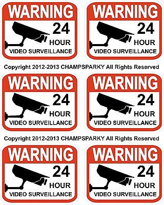 Video Surveillance Security Decals Lot Of 6 Warning Sticker Signs 2.3 X 3 Cctv