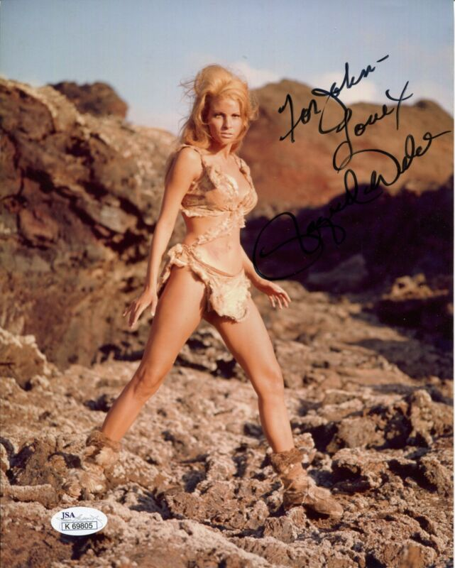RAQUEL WELCH HAND SIGNED 8x10 COLOR PHOTO      SEXY CAVEWOMAN     TO JOHN    JSA