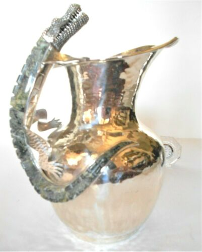 EMILIA LOS CASTILLO LARGE WATER PITCHER HUGE ALLIGATOR SILVER NEIMAN MARCUS