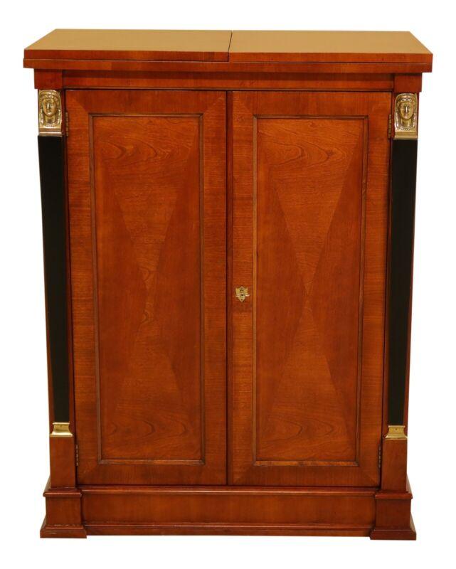 48883EC: BAKER French Empire Cherry Flip Top Bar Cabinet
