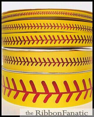 3yds Yellow Red Foil Softball Stitch  3/8