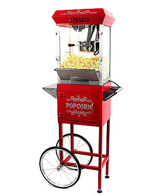 الة صنع الفشار جديد Paramount 8oz Popcorn Maker Machine & Cart – New Upgraded 8 oz Popper [Red]