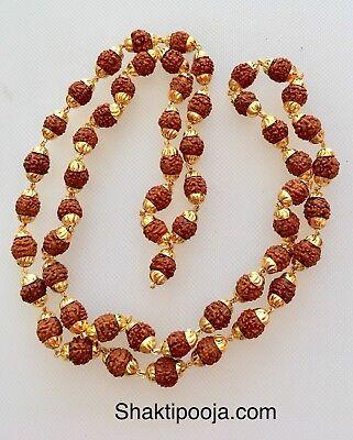 Genuine Rudraksh Rudraksha Japa Mala 54 beads With Golden Metal Cap 8mm size