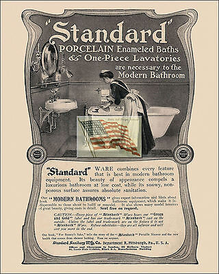 REPRINT PICTURE of old STANDARD PORCELAIN BATHROOM ad with MAID CLEANING A 8x10