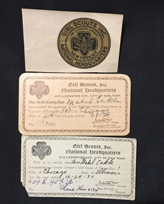 EXTREMELY RARE VINTAGE GIRL SCOUT TRANSFER 1919-1923,MEMBERSHIP CARDS-1929 &1930