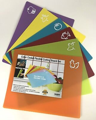 (NEW Set of 6 Color Coded Flexible Cutting Boards BPA Free Anti-Slip 12