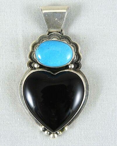 Navajo Sterling Silver Turquoise & Black Onyx Pendant Signed L.L.K., Larry Kaye
