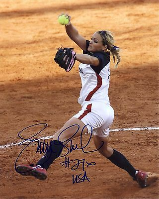 Signed Preprint JENNIE FINCH Autographed SOFTBALL Photo