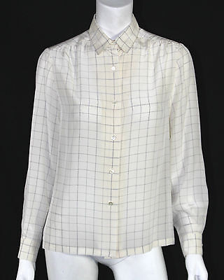 HERMES Vintage NWT White & Blue Windowpane Check Silk Blouse 38
