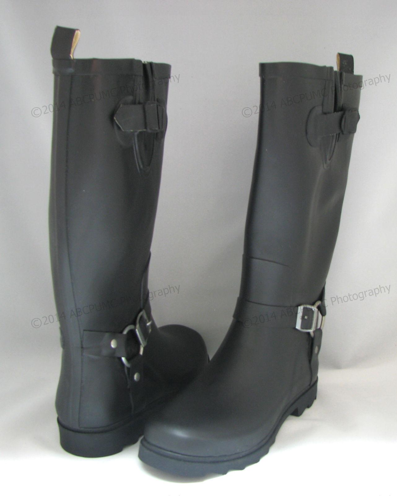 New Women's Rain Boots Harness Motocycle Mid-Calf Wellies Sn