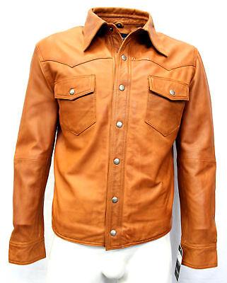 Men's Genuine Lambskin Leather Shirt Basic Vintage Brown Jacket Biker Slim Fit