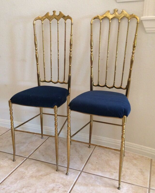 Chiavari Chairs Brass PAIR VINTAGE