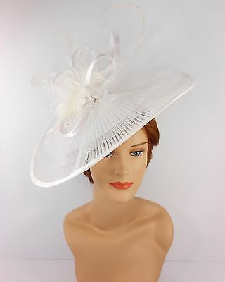 New Church Derby Wedding Pleated Fascinator Hat Headband 2450 White