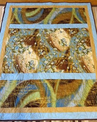 "New USA Handmade Lap Size Quilt- Japanese Floral & Birds-  53"" x 63"" Blue Brown"