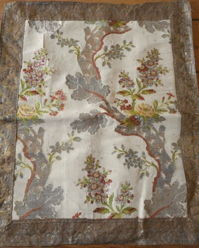 Antique French Tree Life  Floral Garland Silk Brocade Fabric Bronze Metallic ~