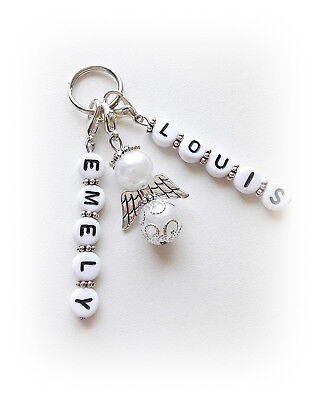 Schutzengel Schlüssel-Anhänger mit 2  Wunschname- Weiss Geschenk Handmade
