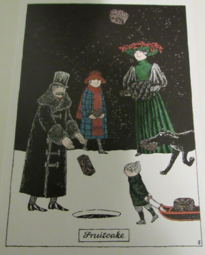 NEW 5 EDWARD GOREY Christmas Cards Fruitcake gothic humor
