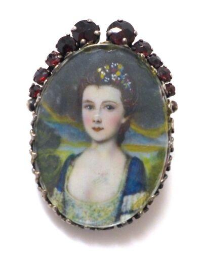 Antique Bohemian Rose Cut Garnet Hand Painted Miniature Portrait Sterling Brooch
