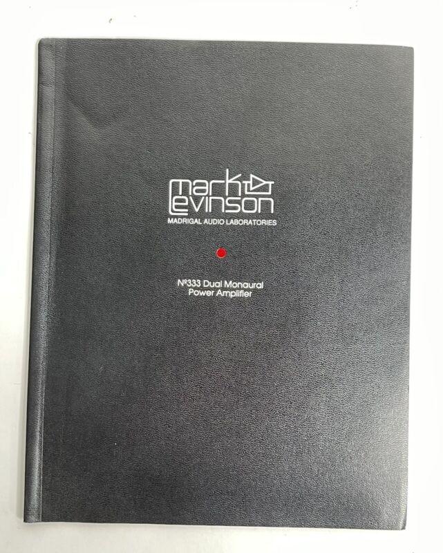 Mark Levinson No. 333 Power Amplifier Owners Manual Instructions Original 332 Am