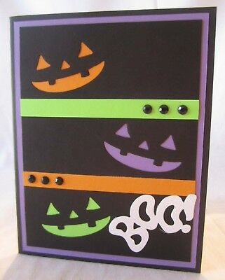 Handmade HALLOWEEN Pumpkin Faces Die Cut Boo ! Blank Inside U Choose How Many