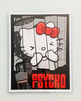 "Hello Kitty Art (Exclusive Universal Studios x Hello Kitty Psycho Poster Art Print 14"" X 11"" )"