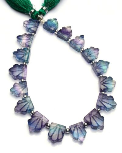 """Natural Gem Rainbow Fluorite 10x8 to 13x9mm Size Carved Leaf Shape Beads 8.5"""""""