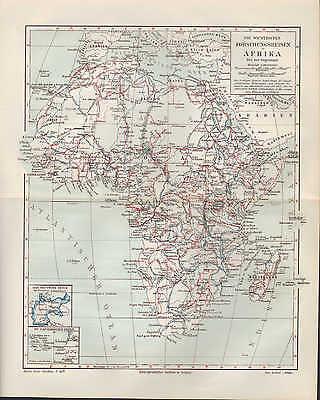 Landkarte map 1905: Forschungsreisen in AFRIKA. Nord-Afrika Africa Kolonien