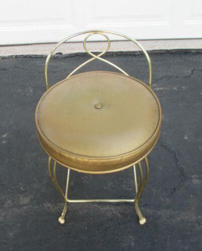 Vintage Hollywood Regency Art Deco Gold Metal Vanity Boudoir Chair Gold Seat VGC