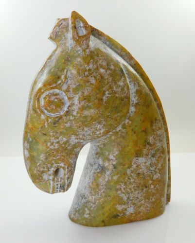 Antique Chinese Carved Natural Jade Horse Head Ming Dynasty