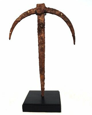 Art African - Antique Iron Ritual Fon on Base - Coin altar - 23,5 Cm