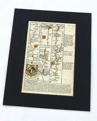 PERSHORE, WORCESTER, BROMYARD, Mounted Antique Strip Road Map, Owen & Bowen 1753