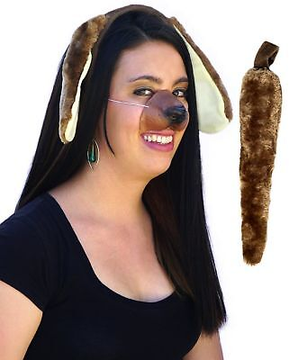 Dog Ears Tail Nose Costume Accessories Kit Set Adult Child Kid Puppy Furry Brown