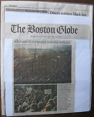 News Clipping  Boston Globe 1 12  2015 One Million March In Solidarity In Paris
