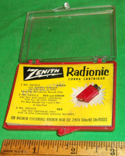 NOS ZENITH RADIONIC COBRA CARTRIDGE 3 Mil NEEDLE  S-11473 w/ Case! Clean! 1953