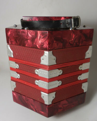 Trinity College Red Mother-of-Pearl Anglo-Style Concertina