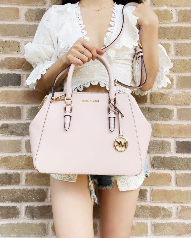 Michael Kors Charlotte Large Satchel Powder Blush Pink Leather Handbag Crossbody