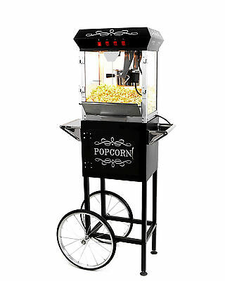 الة صنع الفشار جديد Paramount 6oz Popcorn Maker Machine & Cart – New Upgraded 6 oz Popper [Black]