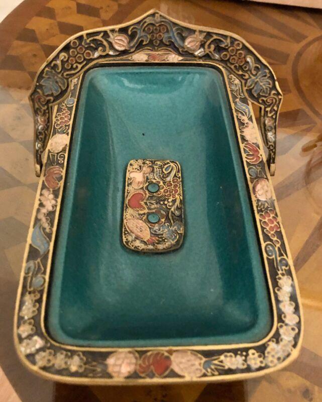 Vintage Jerusalem ISRAELI Painted Enamel Brass CANDY FRUIT Bowl Tray ISRAEL MCM