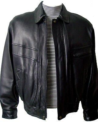 1027 Best Clean Soft Sheepskin Mens Leather Bomber Jacket Large