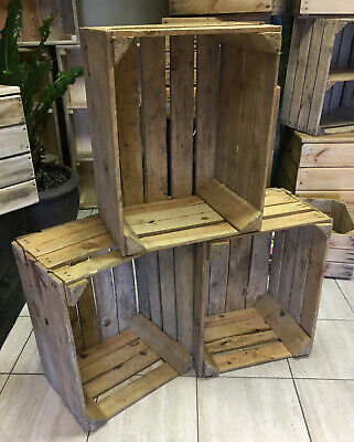 6 WOODEN Apple crates - STORAGE BOX BOXES / SHABBY CHIC VINTAGE LOOK Free Ship!