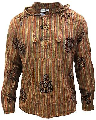 -  Mens Stonewashed Striped Hooded Grandad Shirt Long Sleeve Casual Hooded Top