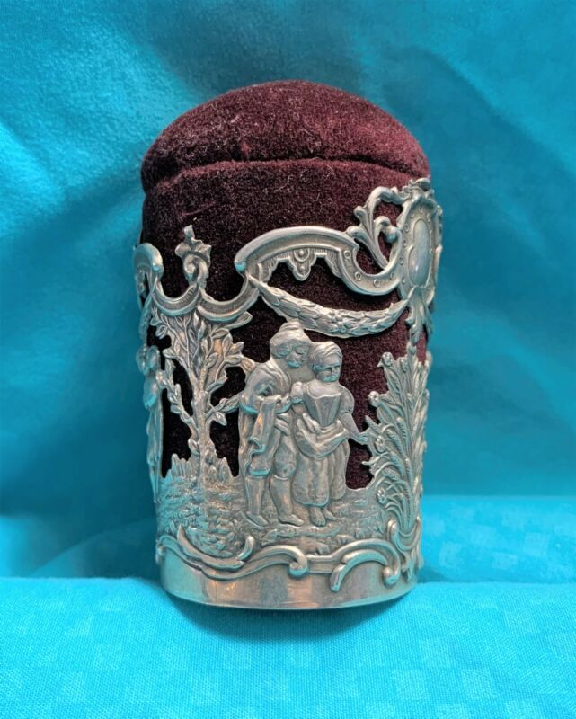 Antique Germany 800 Silver Ladies & Man Maroon Velvet Pin Cushion Thimble Holder
